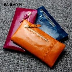 Prawdziwe prawdziwej skóry kobiet portfele marka projekt wysokiej jakości ładne posiadacz karty długi portfel damski torebka sprzęgła dla mężczyzn w Portfele od Bagaże i torby na