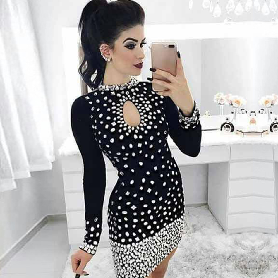 Adyce 2019 New Winter Women Bandage Dress Sexy Long Sleeve Luxury Mini Beading Club Dress Vestidos