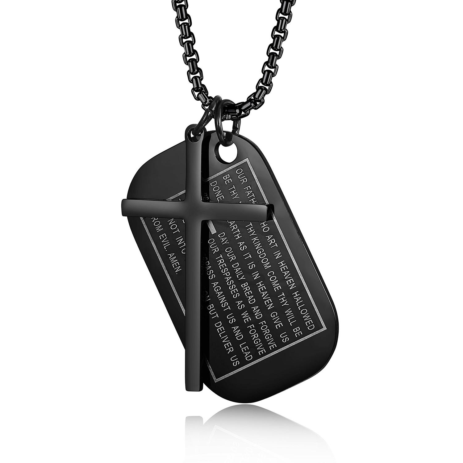 BONISKISS Men's Necklaces Male Stainless Steel Dog Tags Jewelry Free Engrave New Trendy Cross Pendant Chian Necklaces