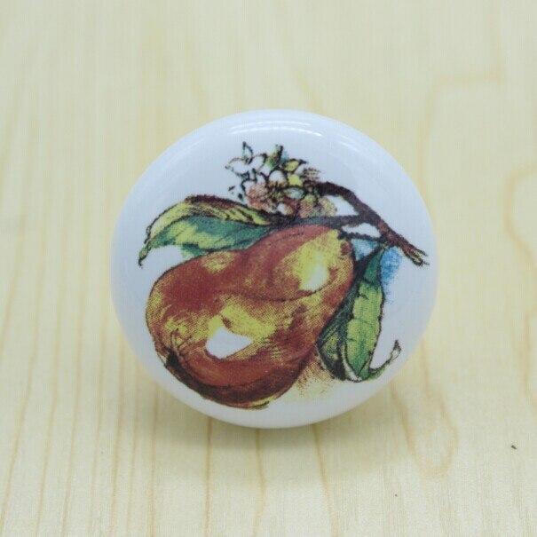 Diameter 38mm white ceramic kitchen cabinet knobs fruit ceramic drawer dresser wardrobe furniture handles pulls knobs