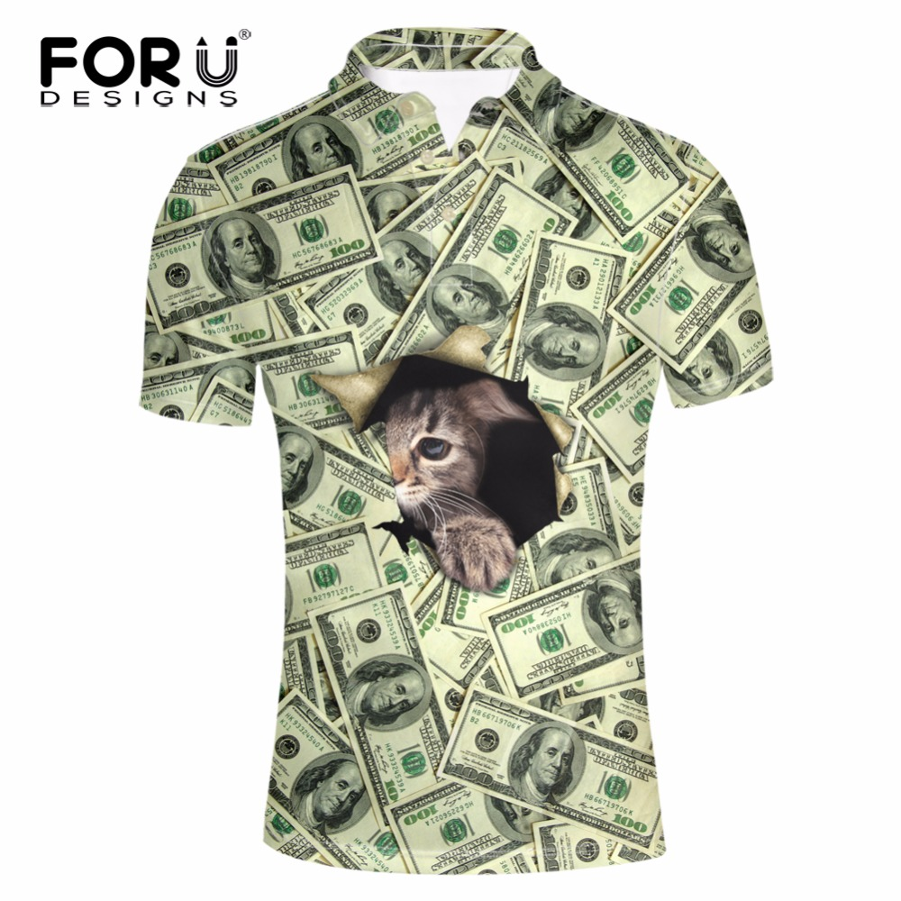 FORUDESIGNS Funny Men Polo 3D Animal Cat Face Printing Men Short Sleeves Summer Shirts Men's Casual Brand POLO homme Hombre 3XL