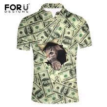 FORUDESIGNS Funny Men Polo 3D Animal Cat Face Printing Men Short Sleeves Summer Shirts Men's Casual Brand POLO homme Hombre 3XL