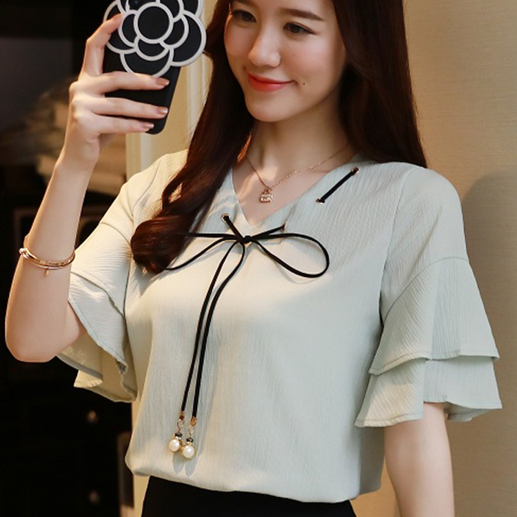 New Women Clothing bow out off shoulder Cropped Women Short Sleeve Blouse Casual ruffle  ...