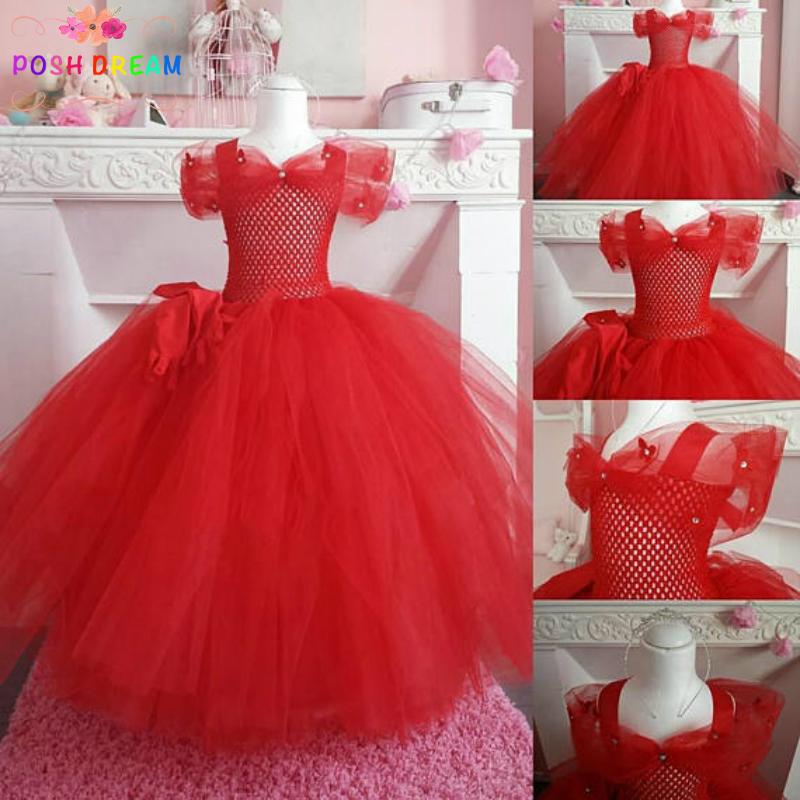 POSH DREAM New Red Ceremonies Kids Girls Tutu Dress Princess Red Wedding Children Flower Girls Dress Baby Baptisms Party Dress