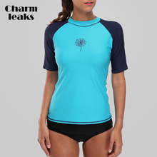 Charmleaks Women Short Sleeve Rashguard Swimsuit Surfing Shirts Swimwear UV-Protection UPF50+ Rash Guard Running Top Beach Wear