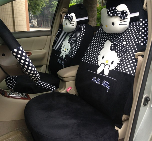 2015 Plush Hellokitty Car Seat Cover Cute Female Cartoon Hello Kitty The Four Seasons General Kt Cushion Universal 18sets In Automobiles Covers