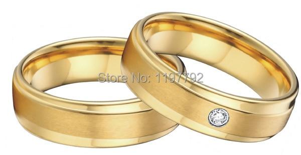 Ensembles de bagues de fiançailles en acier titane chirurgical couleur or jaune sur mesure pour couples hommes femmes