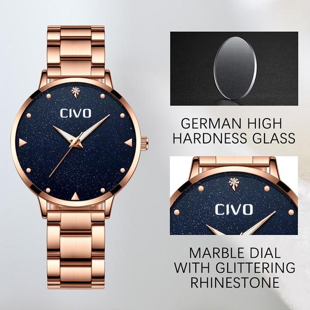 CIVO Rose Gold Watch Women Watches Ladies Creative Clock Stainless Steel Women's Bracelet Watches Relogio Feminino Montre Femme