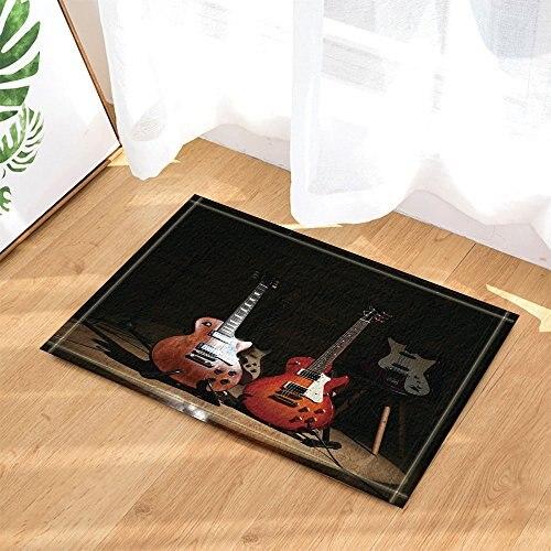3D Digital Printing Music Decor, Electric Guitars on Lighted Wooden Floor Bath Rugs, Non-Slip Doormat Floor Entryways Indoor