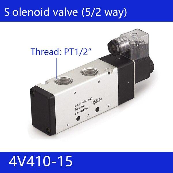 Free shipping good qualty 5 port 2 position Solenoid Valve 4V410-15,have DC24v,DC12V,AC24V,AC36V,AC220V,AC380V the supply of the original electromagnetic valve 4v410 15 ac220v