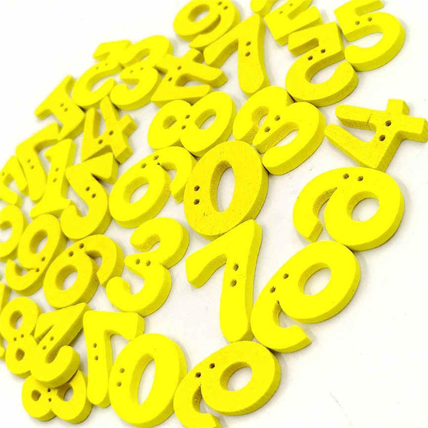 100Pcs 디지털 나무 단추 어린이 장식 단추 DIY 액세서리 Dropshipping 7 월 5 일