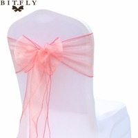 200Pcs Lot Organza Chair Sash Bow For Cover Banquet Wedding Party Event Xmas Decoration Sheer Fabric