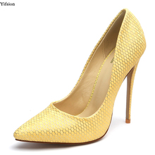 6f383a4e Yifsion nueva llegada mujeres bombas alto talón del estilete de punta  estrecha Gorgeous 5 colores partido zapatos mujeres más ee.