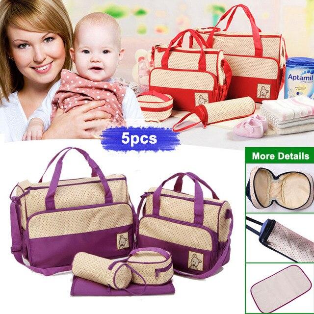2016 Nappy Bags 5pcs/set Multifunctional Bolsa Maternidade Baby Diaper Bags Nappy Maternity Lady Handbag Messenger Diapering