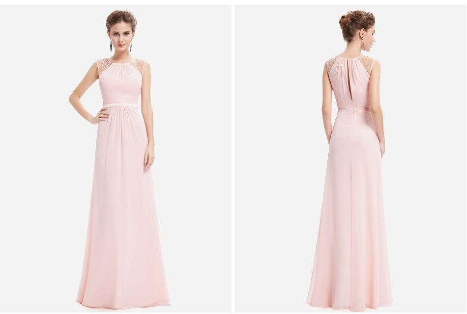 Elegant Chiffon Empire Sleeveless Lace Long Bridesmaid Dress 3