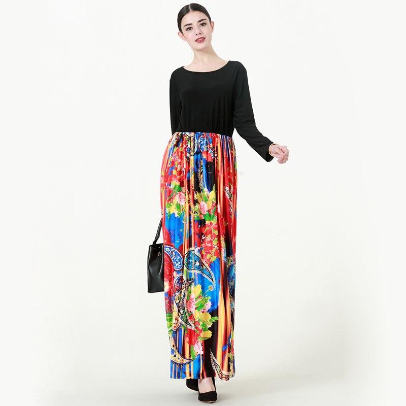 BLINGSTORY moyen-orient femmes à manches longues grande taille dinde Abaya Double poche robe à fleurs automne S-6xL