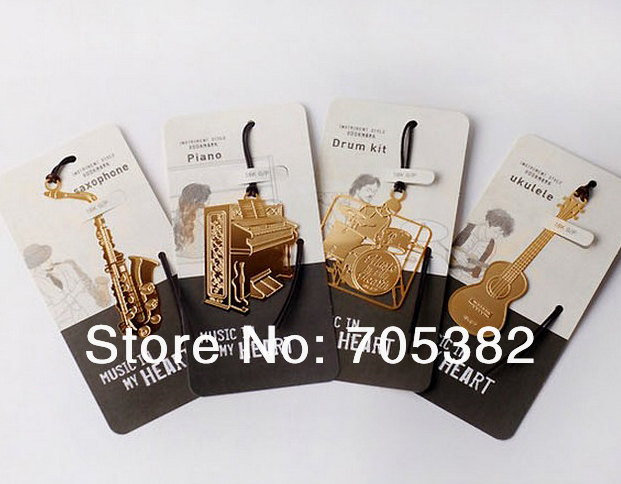 1PC/lot Cute Music Instrument  Metal Bookmark Design,bookmarks ,reading Bookmarks Sale,products For 2013(SS-8695)