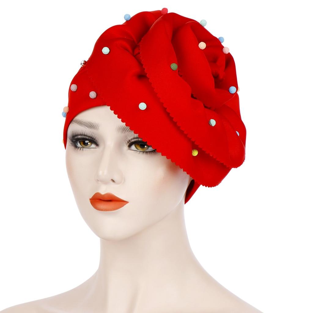 2019 Women Beading India Hat Muslim Ruffle Floral Cancer Chemo Beanie Turban Wrap Cap Decoration Hair Loss Head Scarf Wrap