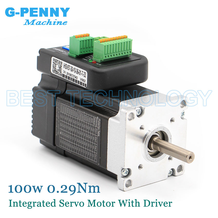 Free Shipping! Nema23 100w 3000rpm Integrated Servo Motor With Drive 0.29Nm 41Oz-in 36vDC 6.0A 57x76mm