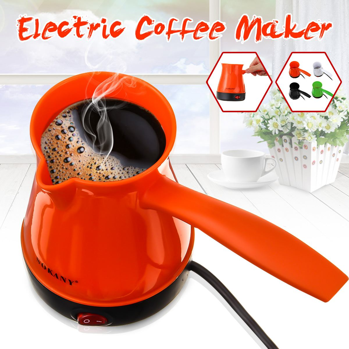 Electric Turkish Greek Coffee Maker Machine Espresso Tea Moka Multifunction Pot Food Grade ABS+Stainless Steel Anti-slip Base