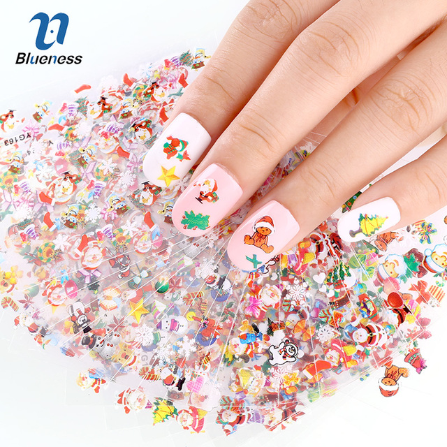 24 Designs/Lot Beauty Christmas Style Nail Stickers 3D Nail Art Decorations  Glitter Manicure DIY
