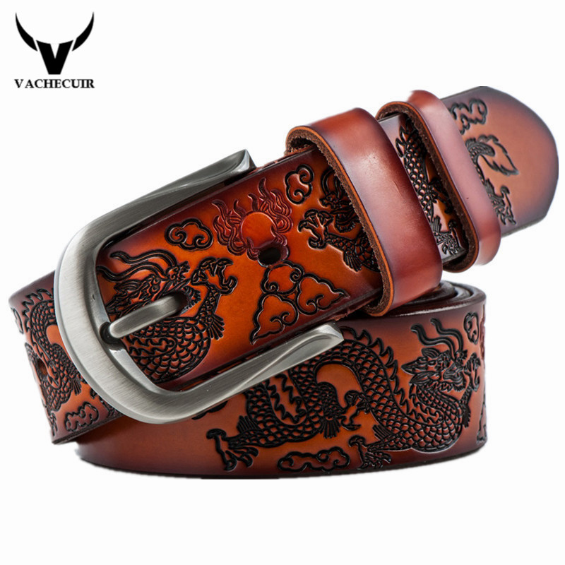 VACHECUIR Cinto Vintage Dragon Belt,Mens Luxury Real Leather Belts For Men,Hot leisure Designer High quality Buckle Men's Belts