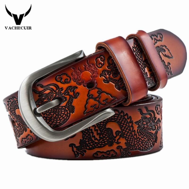 VACHECUIR Cinto Vintage Dragon Belt, Cinturones de cuero real de lujo para hombres para hombres, Cinturones de hebilla de alta calidad de diseñador de ocio caliente