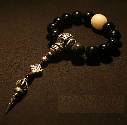 Blessed Mala Bracelet Tibetan Rosary Beads Bracelet Buddhist Prayer Beads Bracelet Wrist Mala Obsidian Beads OM Guru Bead