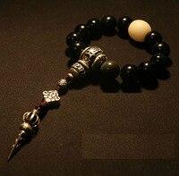 Blessed Mala Bracelet Tibetan Rosary Beads Bracelet Buddhist Prayer Beads Bracelet Wrist Mala Obsidian Beads OM