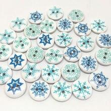 100 шт 15 мм рождественские синие снежинки микс деревянные пуговицы для шитья Xtmas украшения открытки, скрапбукинг