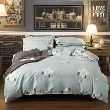 Light green with white flower design fresh style bedcover linen bedding full bed sheets cover lit king sheet set