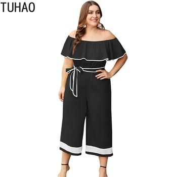 TUHAO Plus Size 4XL 3XL Women Long Jumpsuit Elegant Ruffled Yellow Balck Jumpsuit Romper Ruffles Sleeve Casual Overalls WL188
