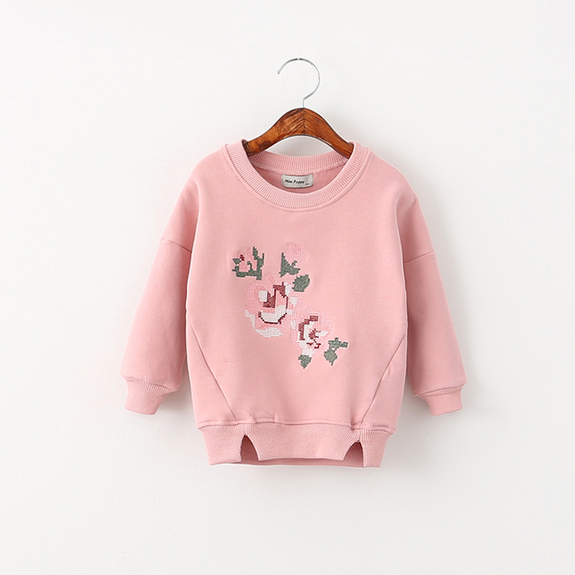Baby Girls Korean Thickened Hoodies Autumn Flower Print Kids Full Sleeve O-Neck Sweatshirts Children Casual Clothing 5pcs/LOT