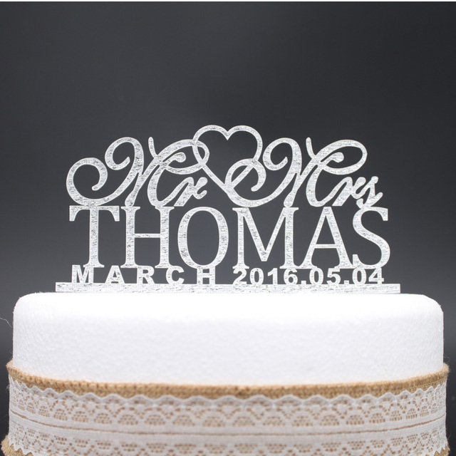 Custom Wedding Cake Topper Personalized Monogram Mr And Mrs Decor