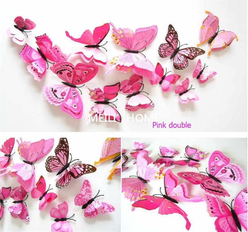 3D Butterfly adesivos de parede home decor Adesivo no Art Mural decalque em Parede para eletrodomésticos vintage quartos dos miúdos 12 pçs/saco