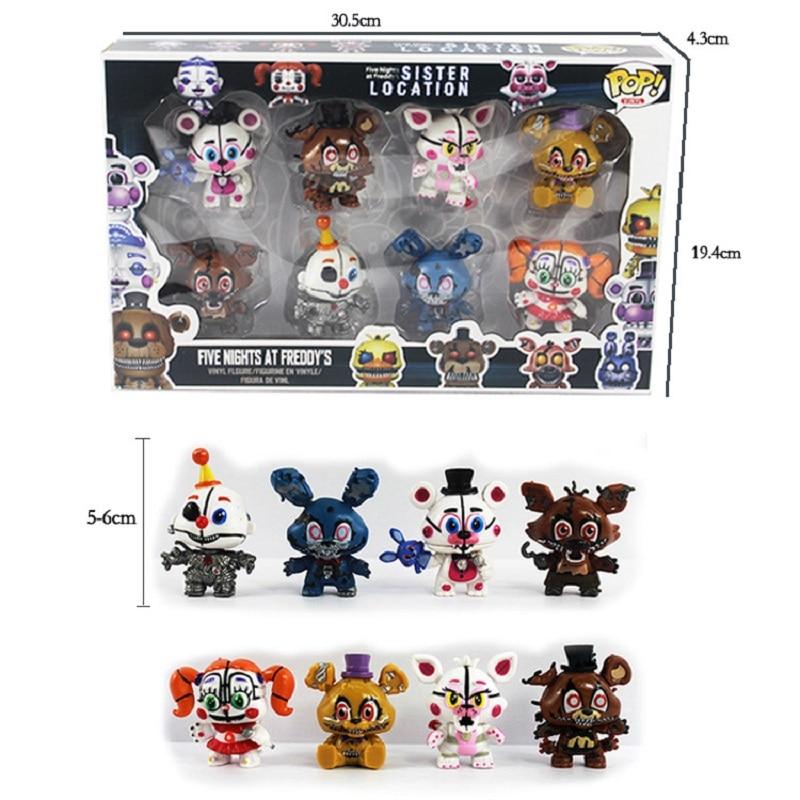 New  FNAF Freddy Mini Figure Nendoroid 5-6cm PVC Five Nights At Freddys Foxy Freddy Chica Anime Figurines Loose Toys 8 Pcs/Set