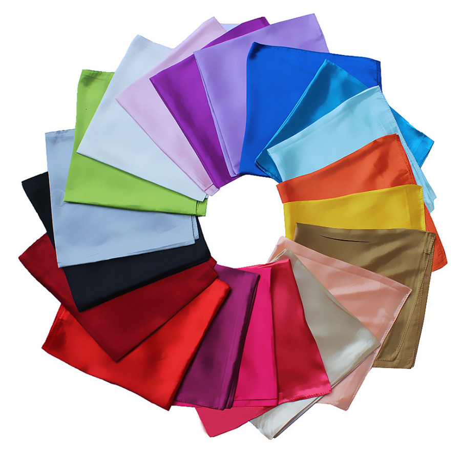 [Lakysilk]Wholesale Silk Small Satin Square Women Scarf Solid Head Shawls Ladies Accessories Neck Hair Scarves 60*60CM