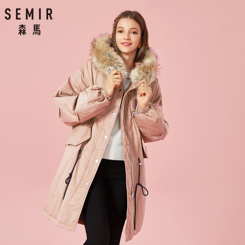 SEMIR Women 100% Cotton Padded   Parka   with Hood with Detachable Faux Fur Trim Drawstring at Waist Zip&Snap Closure a Vent at Back