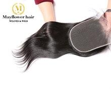 """Mayflower 5X"""" Кружево Закрытие девственные прямые волосы с детскими волосами линия полностью связанный вручную швейцарское кружево Средний коричневый цвет 10-18"""""""