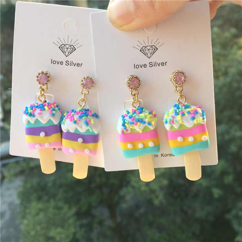 Красочные конфеты мороженое Висячие серьги для женщин креативная еда ювелирные