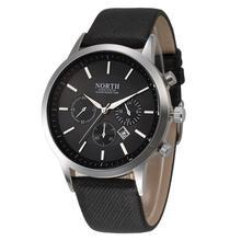 NORTH 2016 Sports Luxury brand Mens Leather Band Analog Quartz-watch Wristwatch women menses Orologio uomo Cheap Wholesale