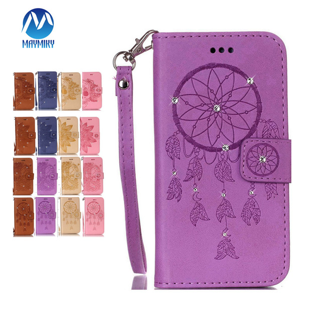 Maymiky Dimond Case For ZTE Z981 Case Flower Rose Color With Wallet PU Leather Cover For ZTE Z MAX Pro Z981 Case