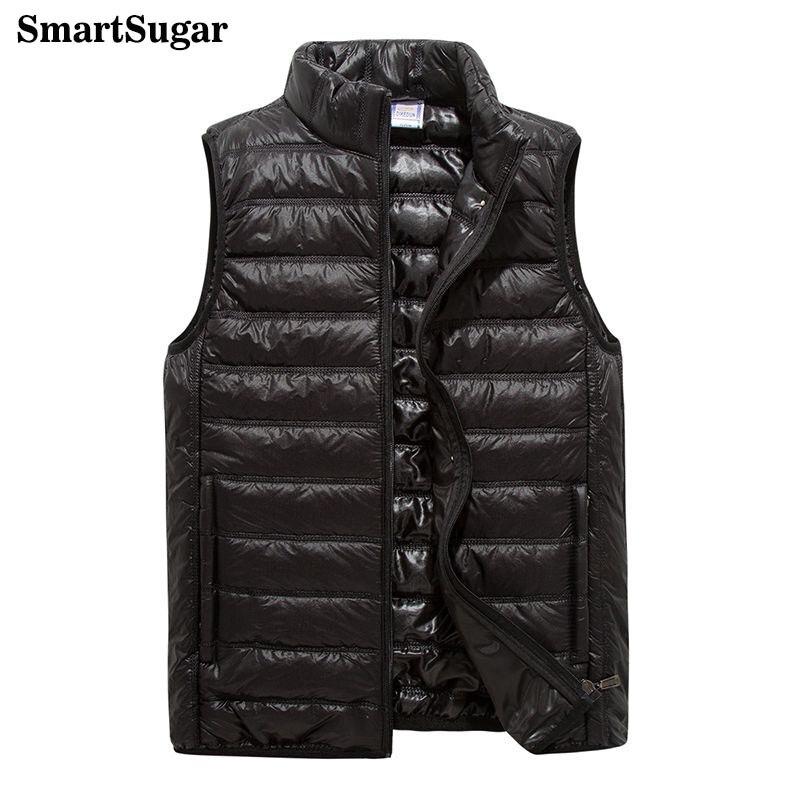 Smartsugar зима рукавов Для мужчин Подпушка куртка Тонкий теплый Сверхлегкий утка пуховой жилет мужской сплошной тонкий 4 цвета Стенд воротник ветрозащитный