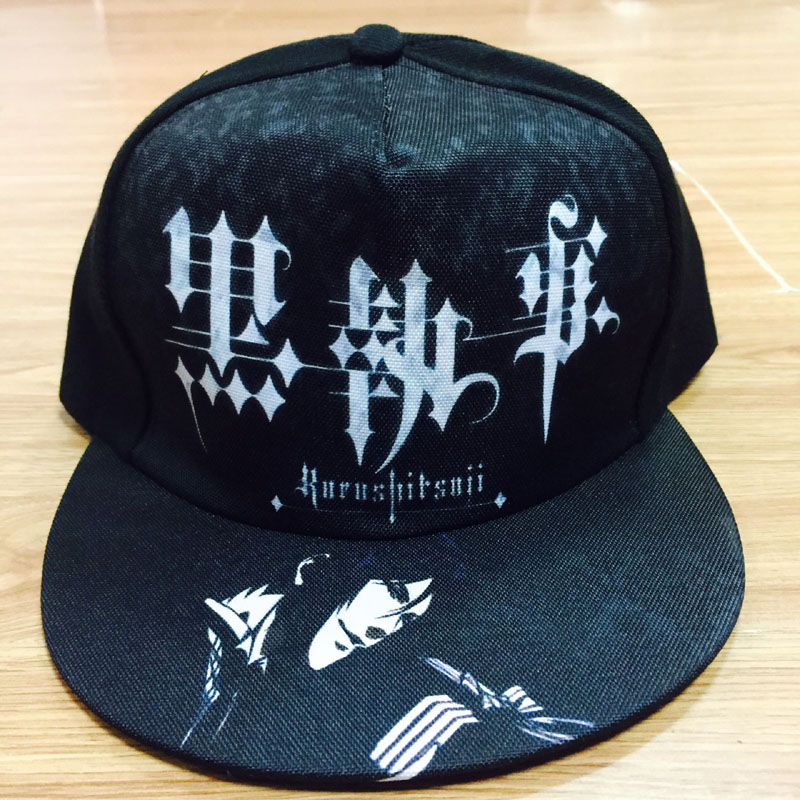Diplomatic Anime Black Butler Hip-hop Hat Ciel Phantomhive Sebastian Michaelis Cool Black Casual Adjustable Cap