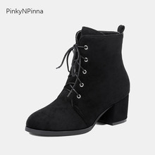 ankle boots for women flock high block heels laced up fashion western style riding winter booties young ladies plus size shoes