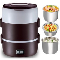 New 2L Heated Lunch Box 220W/220V Portable Electric Heated Portable Compact Food Warmer Lunch food Box Bento Box us AU EU plug