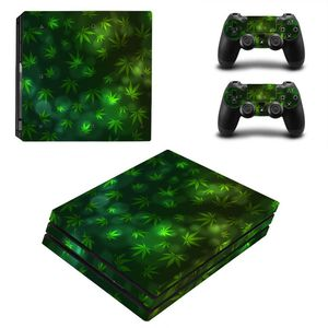 Image 3 - Green Leaf For PS4 Pro Vinyl Skin Sticker Cover Console & 2PCS Controller Skin Decal For Sony Playstation 4 Pro Game Accessories