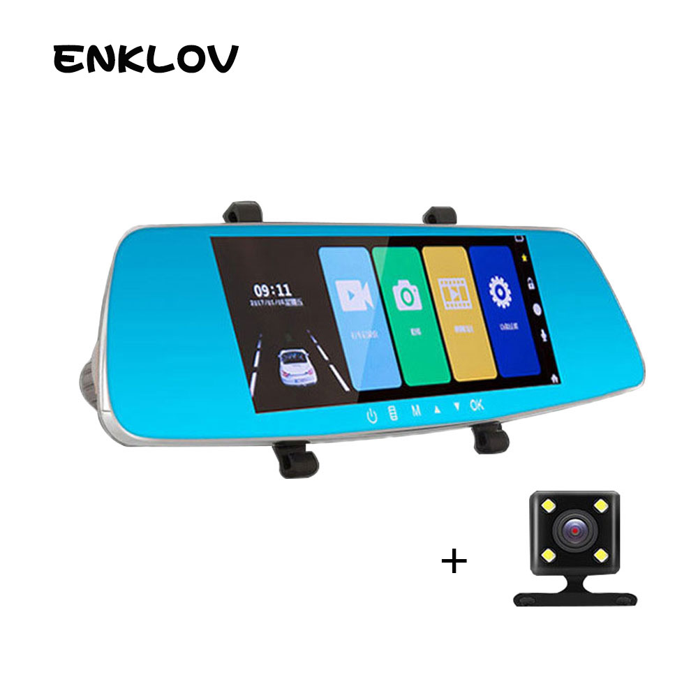 ENKLOV HD Touch Screen Car Camera 1080P Ultra-clear Night Vision With Rear Camera Car DVR 150 Wide-angle Driving Recorder shadow recorder 2 7 tft touch key 140 1080p hd cmos wide angle night vision wdr car camcorder