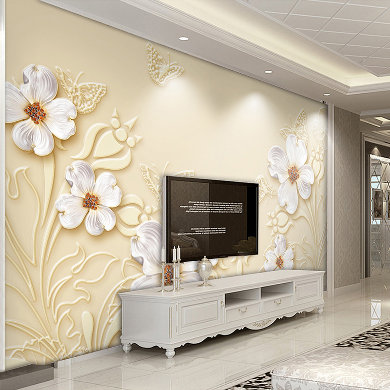 Custom Photo Wallpaper Living Room 3D Relief White Flowers Art Mural Modern Jewelry TV Background Wall Decoration Painting Paper custom 3d mural wallpaper european style painting stereoscopic relief jade living room tv backdrop bedroom photo wall paper 3d