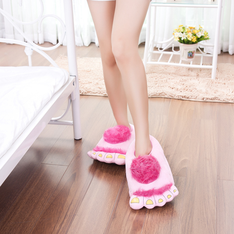 FAYUEKEY Furry Adventure Winter Women Men Vintage Home Cartoon Hobbit Toes Big Feet Slippers Halloween Pantufa Warm Floor Shoes 3